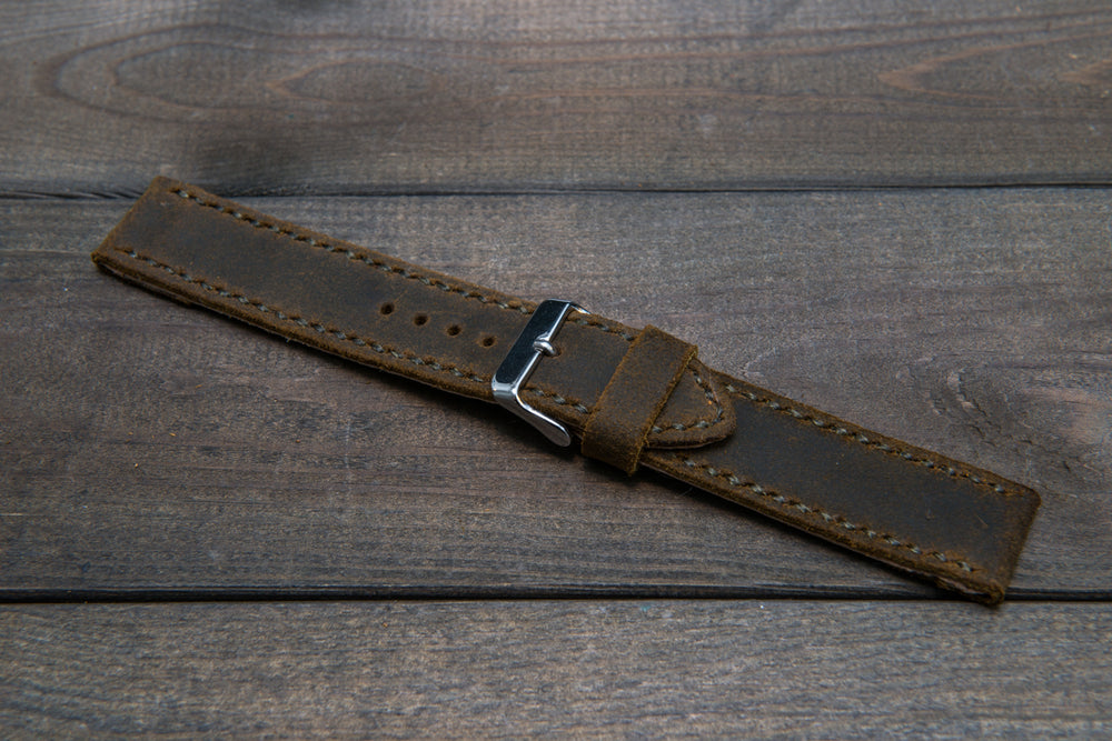 Suede vintage leather watch strap (Chase commander), handmade in Finland -14 mm, 16mm, 17 mm, 18mm, 19 mm, 20mm, 21mm, 22mm, 23 mm,  24mm, 25 mm, 26 mm. - finwatchstraps