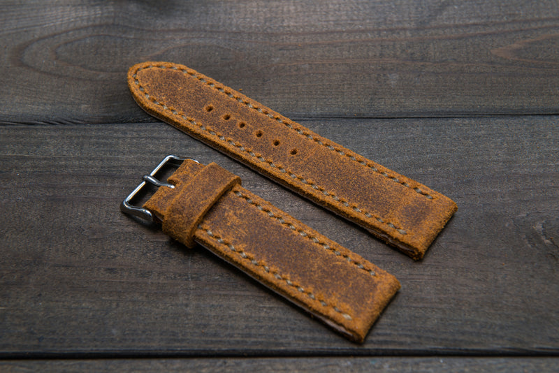 Suede vintage leather watch strap (Wheatbuck), handmade in Finland -14 mm, 16mm, 17 mm, 18mm, 19 mm, 20mm, 21mm, 22mm, 23 mm,  24mm, 25 mm, 26 mm. - finwatchstraps