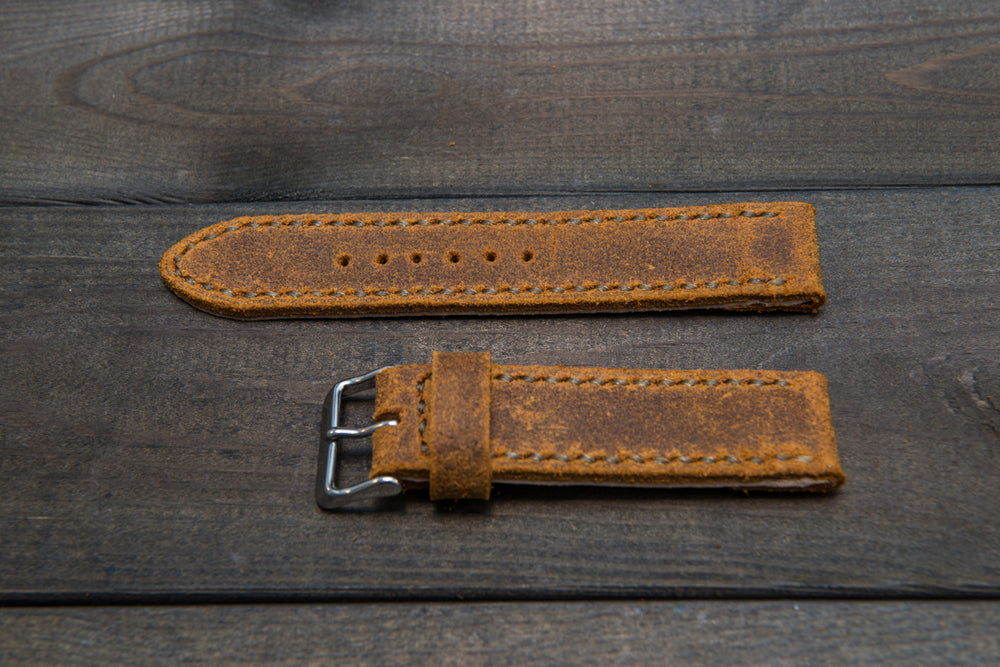 Suede vintage leather watch strap (Wheatbuck), handmade in Finland -14 mm, 16mm, 17 mm, 18mm, 19 mm, 20mm, 21mm, 22mm, 23 mm,  24mm, 25 mm, 26 mm.