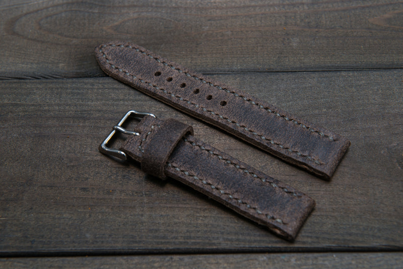 Suede vintage leather watch strap (Stone Monaux), handmade in Finland -14 mm, 16mm, 17 mm, 18mm, 19 mm, 20mm, 21mm, 22mm, 23 mm,  24mm, 25 mm, 26 mm.