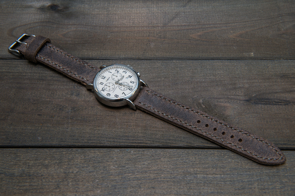 Suede vintage leather watch strap (Stone Monaux), handmade in Finland -14 mm, 16mm, 17 mm, 18mm, 19 mm, 20mm, 21mm, 22mm, 23 mm,  24mm, 25 mm, 26 mm. - finwatchstraps