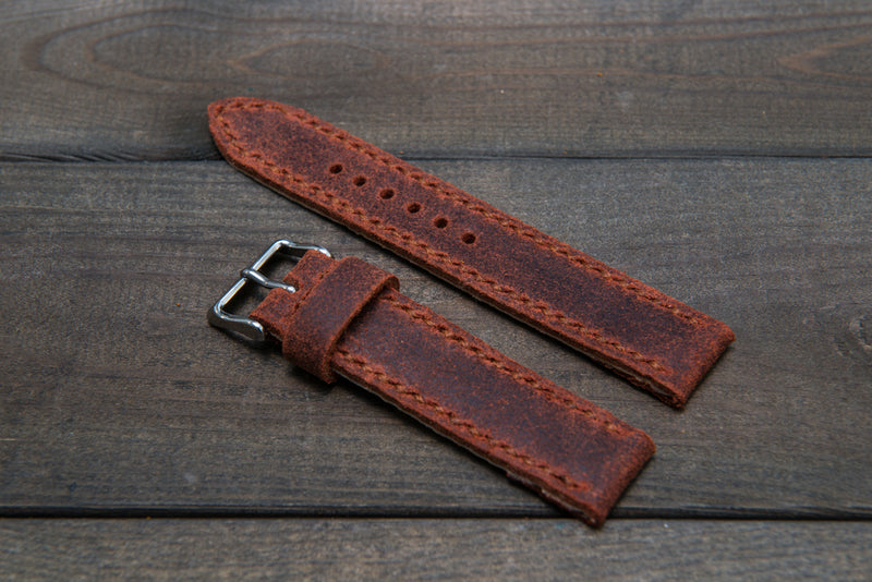Suede vintage leather watch strap (Terracotta), handmade in Finland -14 mm, 16mm, 17 mm, 18mm, 19 mm, 20mm, 21mm, 22mm, 23 mm,  24mm, 25 mm, 26 mm. - finwatchstraps