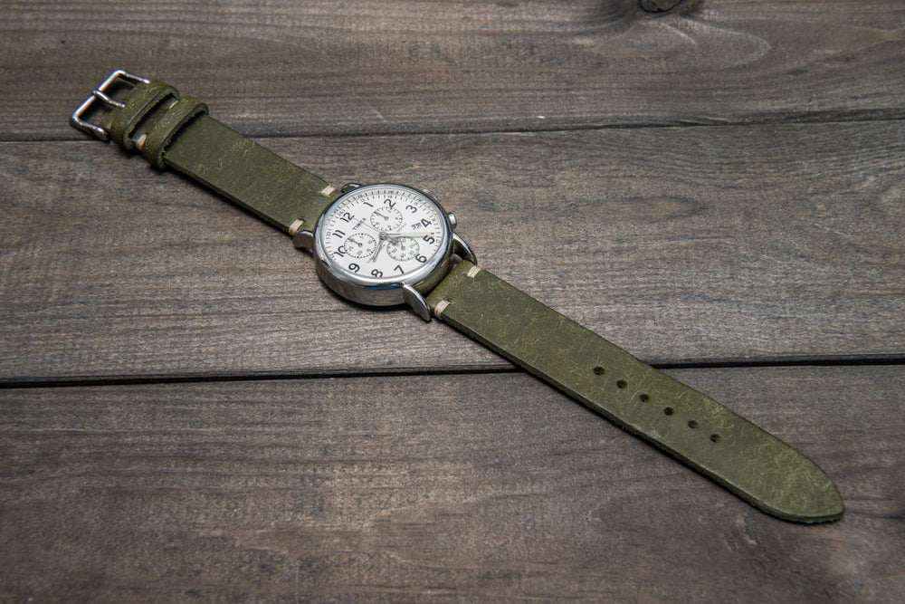 Badalassi Carlo, Pueblo Olive leather watch strap. 23 mm, 120-80 mm. - finwatchstraps