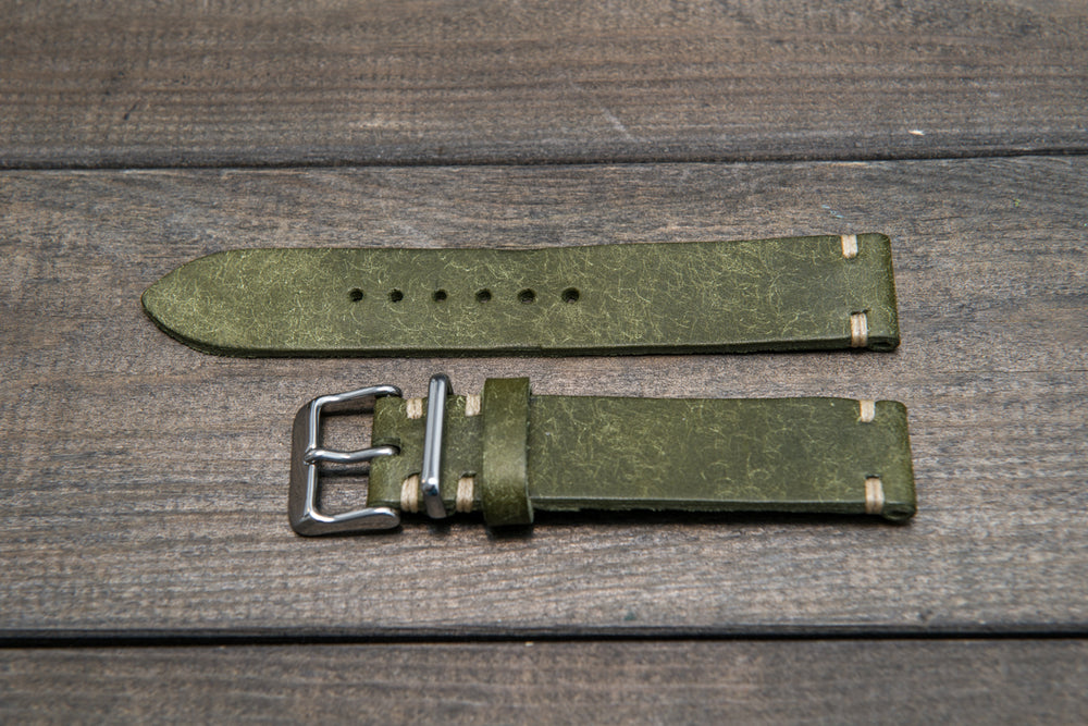 Badalassi Carlo, Pueblo Olive leather watch strap. Hand-made to order in Finland. - finwatchstraps