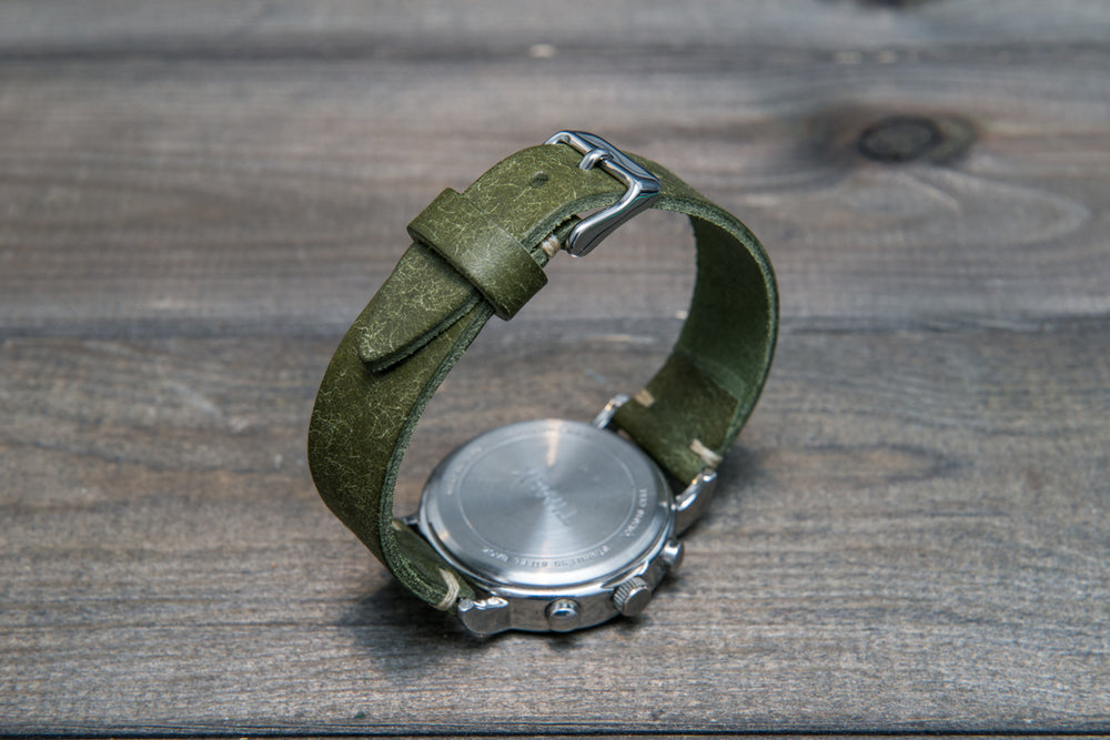 Badalassi Carlo, Pueblo Olive  tapered leather watch strap. Hand-made to order in Finland. - finwatchstraps