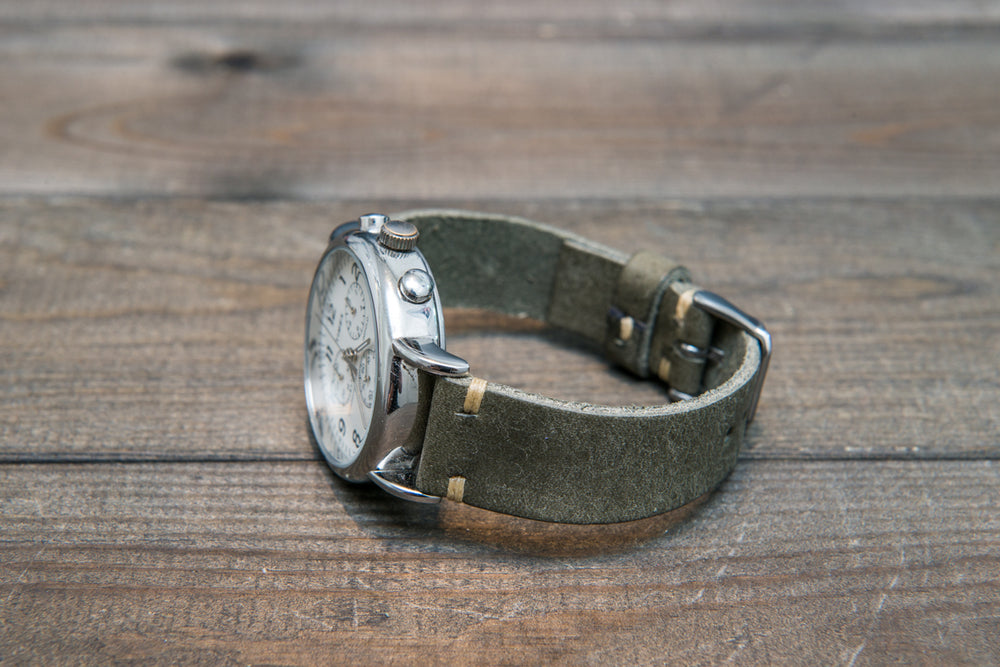 Badalassi Carlo, Pueblo Grigio tapered leather watch strap. Hand-made to order in Finland. - finwatchstraps