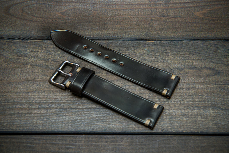 Horween Shell Cordovan leather watch strap, Dark Cognac. Handmade in Finland - 10 mm, 12 mm, 14 mm, 16mm, 17 mm, 18mm, 19 mm, 20mm, 21 mm, 22mm, 23 mm, 24mm, 25 mm, 26 mm. - finwatchstraps