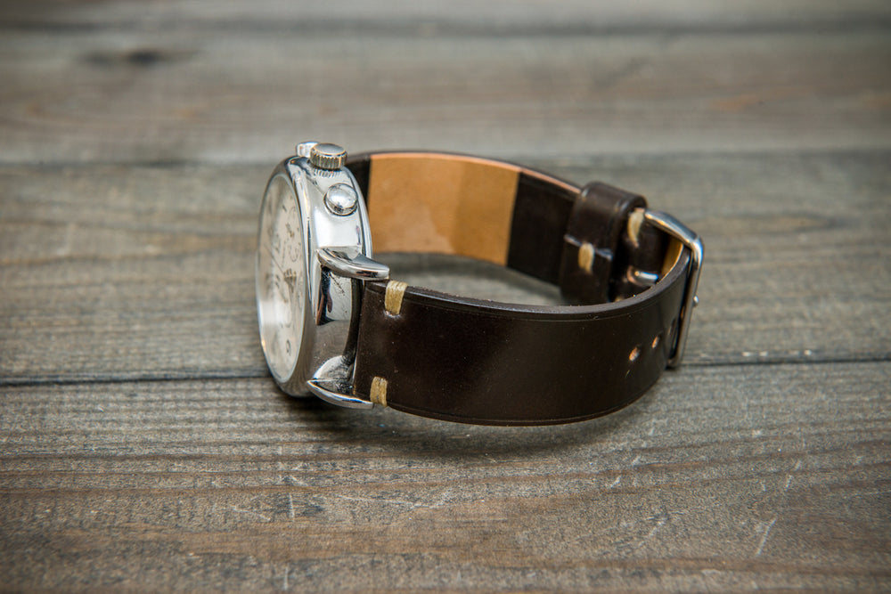 Horween Shell Cordovan leather watch strap, Dark Cognac. Handmade in Finland - 10 mm, 12 mm, 14 mm, 16mm, 17 mm, 18mm, 19 mm, 20mm, 21 mm, 22mm, 23 mm, 24mm, 25 mm, 26 mm.