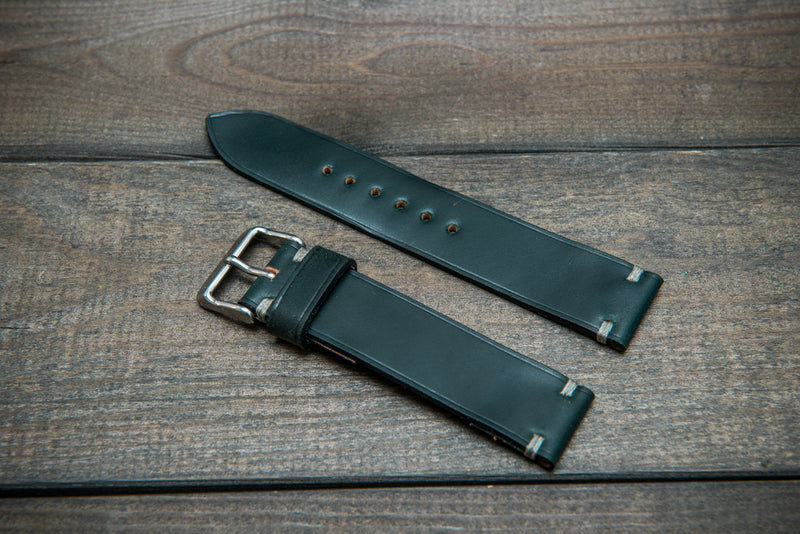 Shell Cordovan leather watch strap, Deep Forest. Handmade in Finland - 10 mm, 12 mm, 14 mm, 16mm, 17 mm, 18mm, 19 mm, 20mm, 21 mm, 22mm, 23 mm, 24mm, 25 mm, 26 mm.