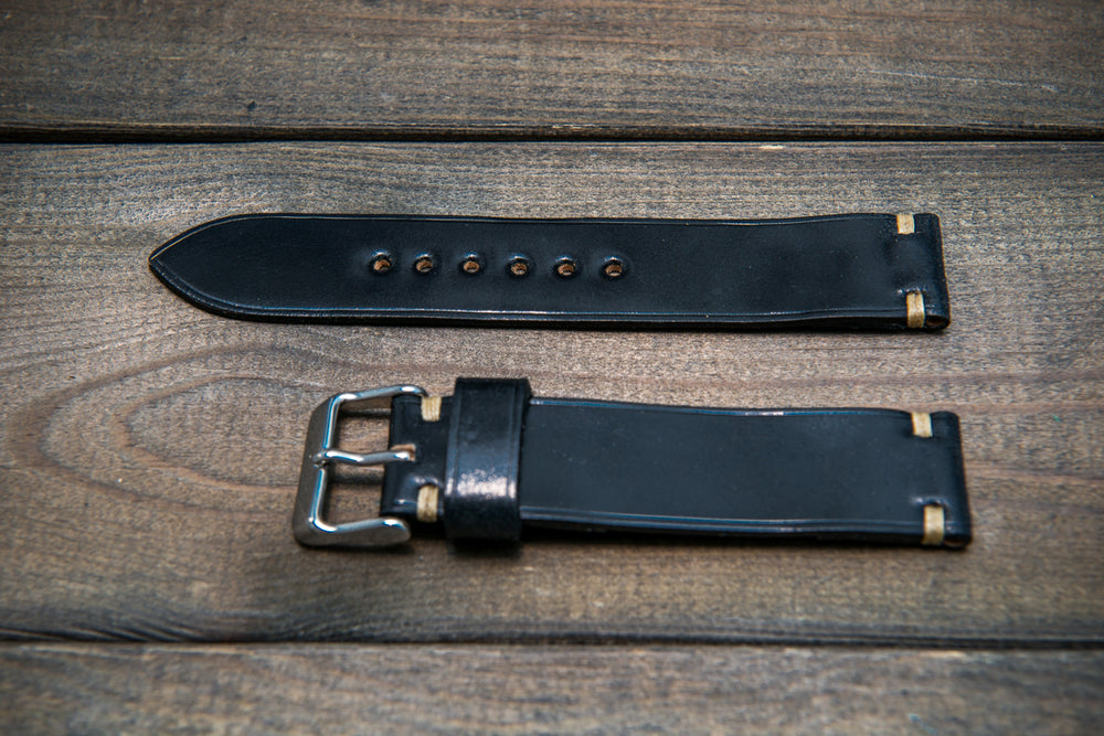 Horween Shell Cordovan leather watch strap, Black. Handmade in Finland - 10 mm, 12 mm, 14 mm, 16mm, 17 mm, 18mm, 19 mm, 20mm, 21 mm, 22mm, 23 mm, 24mm, 25 mm, 26 mm. - finwatchstraps