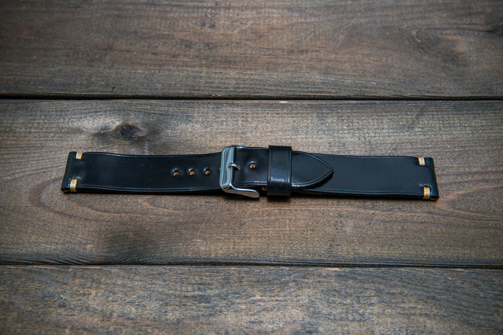 Horween Shell Cordovan leather watch strap, Black. Handmade in Finland - 10 mm, 12 mm, 14 mm, 16mm, 17 mm, 18mm, 19 mm, 20mm, 21 mm, 22mm, 23 mm, 24mm, 25 mm, 26 mm.