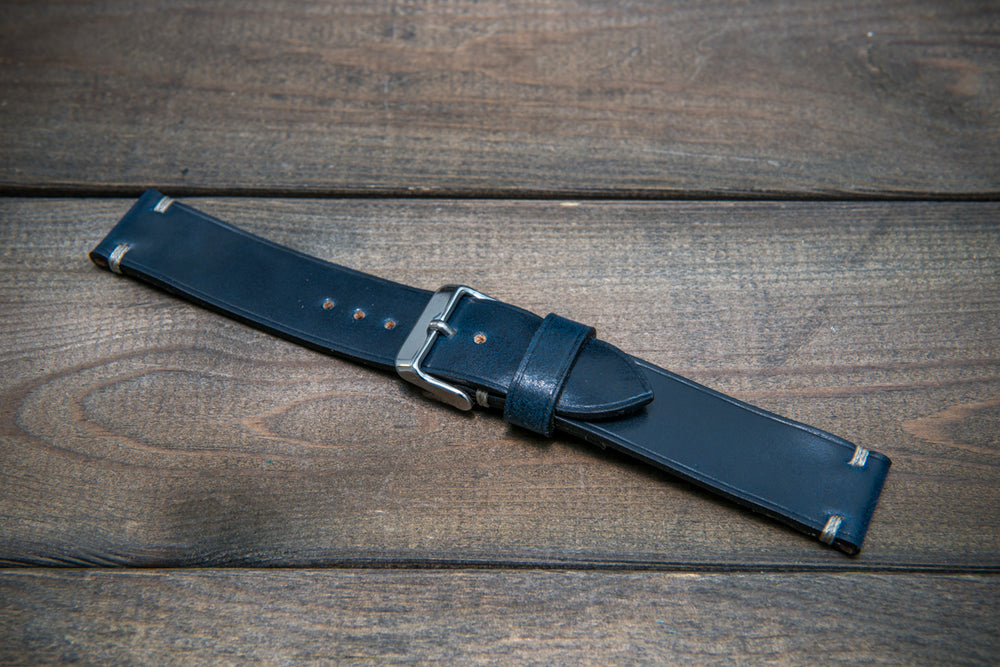 Shell Cordovan leather watch strap, Deep Sea. Handmade in Finland - 10 mm, 12 mm, 14 mm, 16mm, 17 mm, 18mm, 19 mm, 20mm, 21 mm, 22mm, 23 mm, 24mm, 25 mm, 26 mm. - finwatchstraps