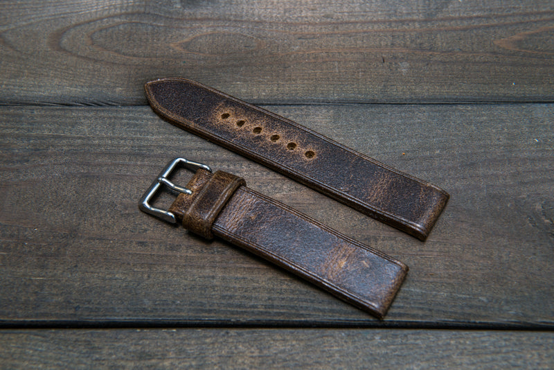 Suede vintage leather watch strap (Crazy Cow), handmade in Finland -14 mm, 16mm, 17 mm, 18mm, 19 mm, 20mm, 21mm, 22mm, 23 mm,  24mm, 25 mm, 26 mm.
