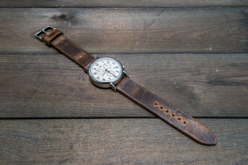 Suede vintage leather watch strap (Crazy Cow, Teak), non-stitched, handmade in Finland - finwatchstraps
