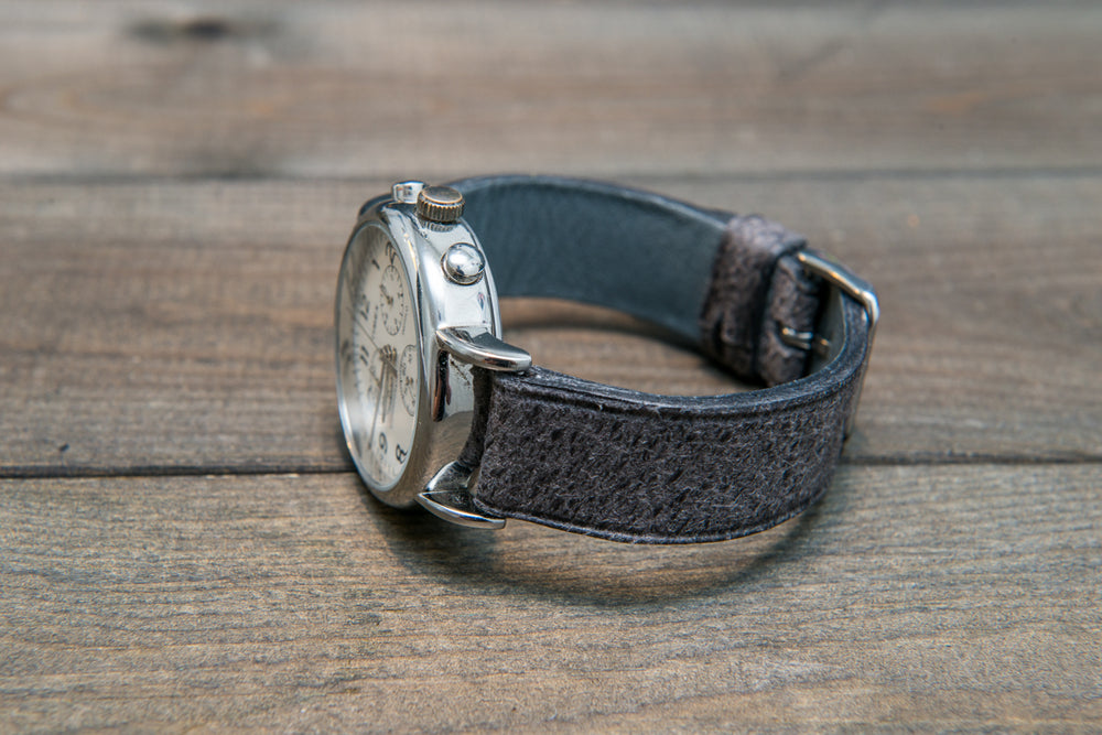Suede vintage leather watch strap (Crazy Cow, Griffin), handmade in Finland -14 mm, 15 mm, 16mm, 17 mm, 18mm, 19 mm, 20mm, 21mm, 22mm, 23 mm,  24mm, 25 mm, 26 mm. - finwatchstraps