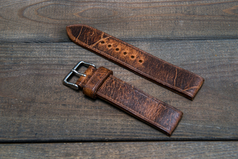 Suede vintage leather watch strap (Crazy Cow, Cognac), handmade in Finland -14 mm, 15 mm, 16mm, 17 mm, 18mm, 19 mm, 20mm, 21mm, 22mm, 23 mm,  24mm, 25 mm, 26 mm. - finwatchstraps