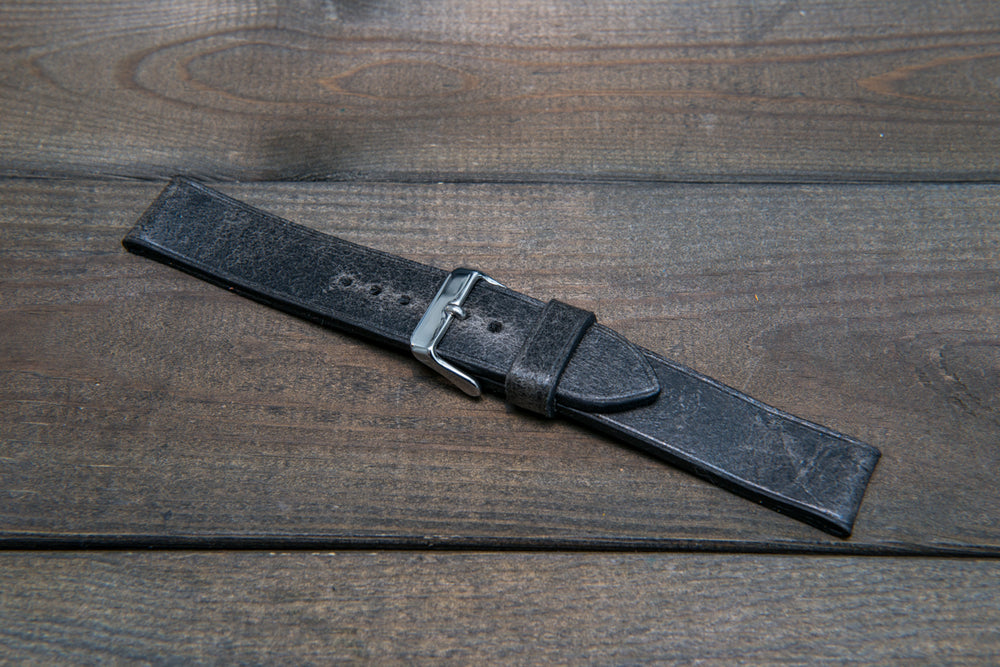 Suede vintage leather watch strap (Crazy Cow, Winter Smoke), handmade in Finland -14 mm, 15 mm, 16mm, 17 mm, 18mm, 19 mm, 20mm, 21mm, 22mm, 23 mm,  24mm, 25 mm, 26 mm. - finwatchstraps