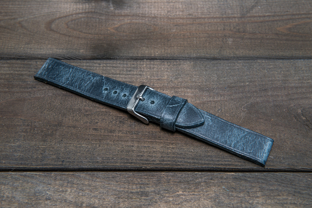 Suede vintage leather watch strap (Crazy Cow, Basalt), non-stitched, handmade in Finland - finwatchstraps