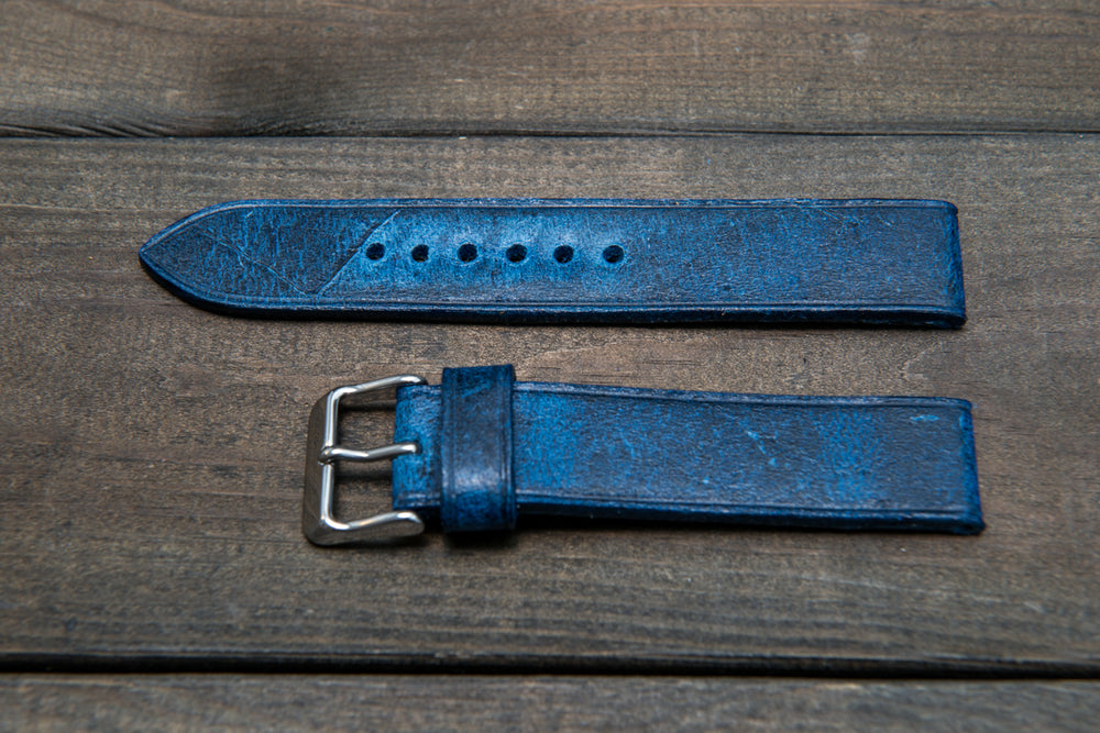 Suede vintage leather watch strap (Crazy Cow, Deep Sea), handmade in Finland -14 mm, 15 mm, 16mm, 17 mm, 18mm, 19 mm, 20mm, 21mm, 22mm, 23 mm,  24mm, 25 mm, 26 mm. - finwatchstraps