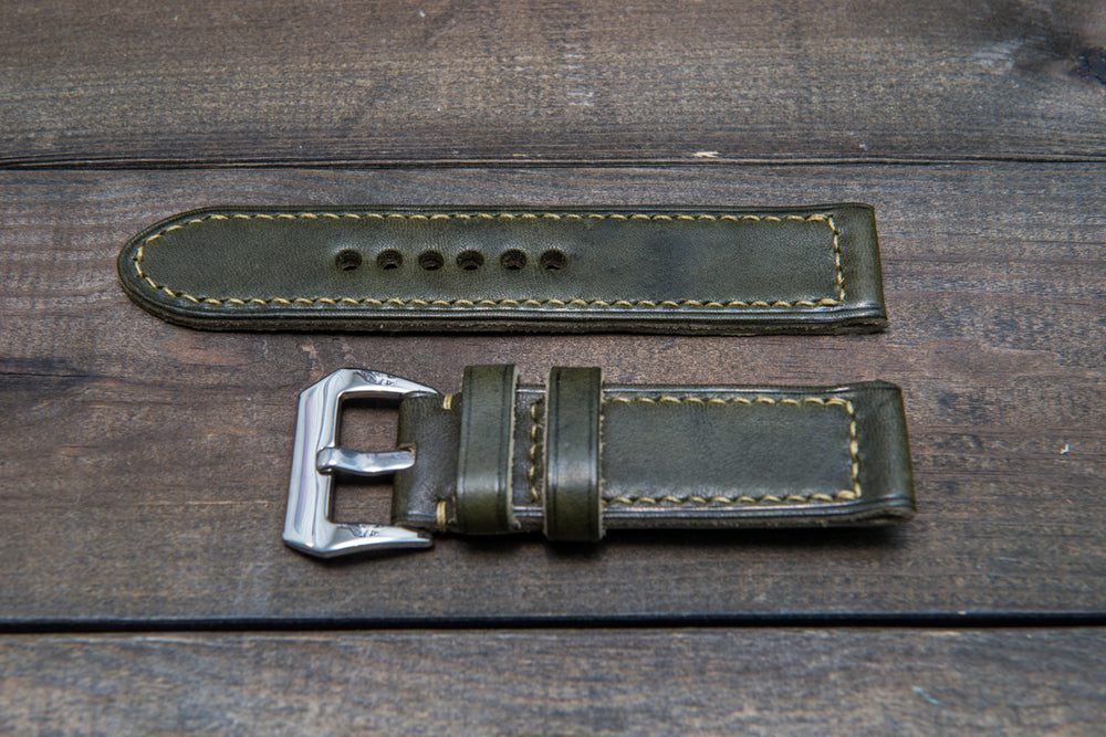 Panerai Italian Vachetta Olive leather hand stitched watch band,  handmade in Finland - finwatchstraps
