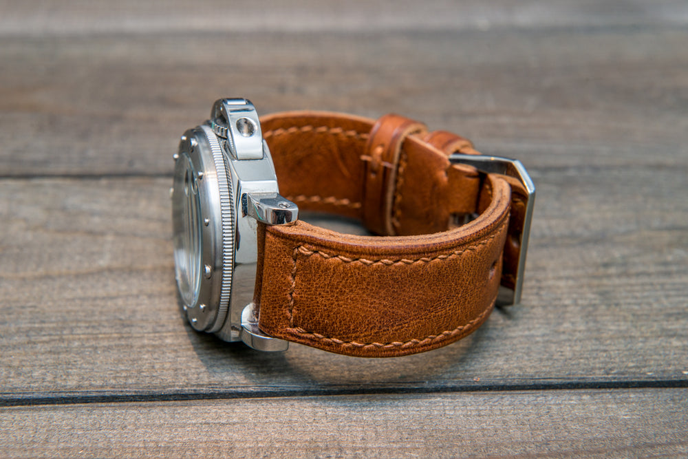 Panerai Italian Vachetta Vulcano Tan leather hand stitched watch band,  handmade in Finland - finwatchstraps