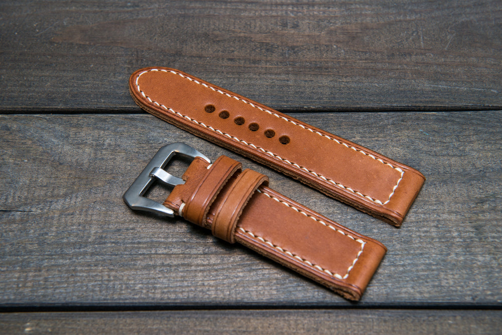 Panerai Italian Vachetta Oil Tan leather hand stitched watch band,  handmade in Finland - finwatchstraps