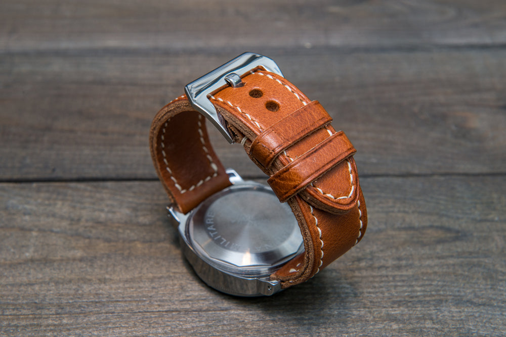 Panerai Italian Vachetta Ranger Cognac leather hand stitched watch band,  handmade in Finland - finwatchstraps
