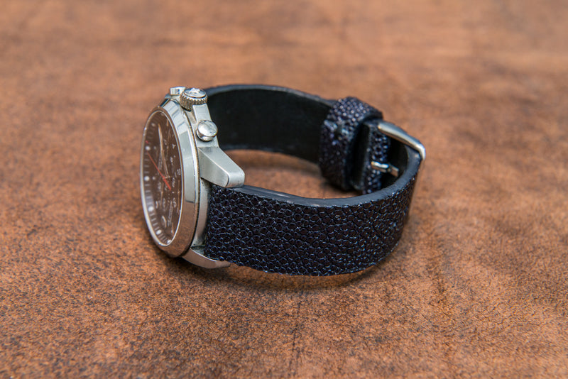 Stingray leather watch strap/ night blue - finwatchstraps