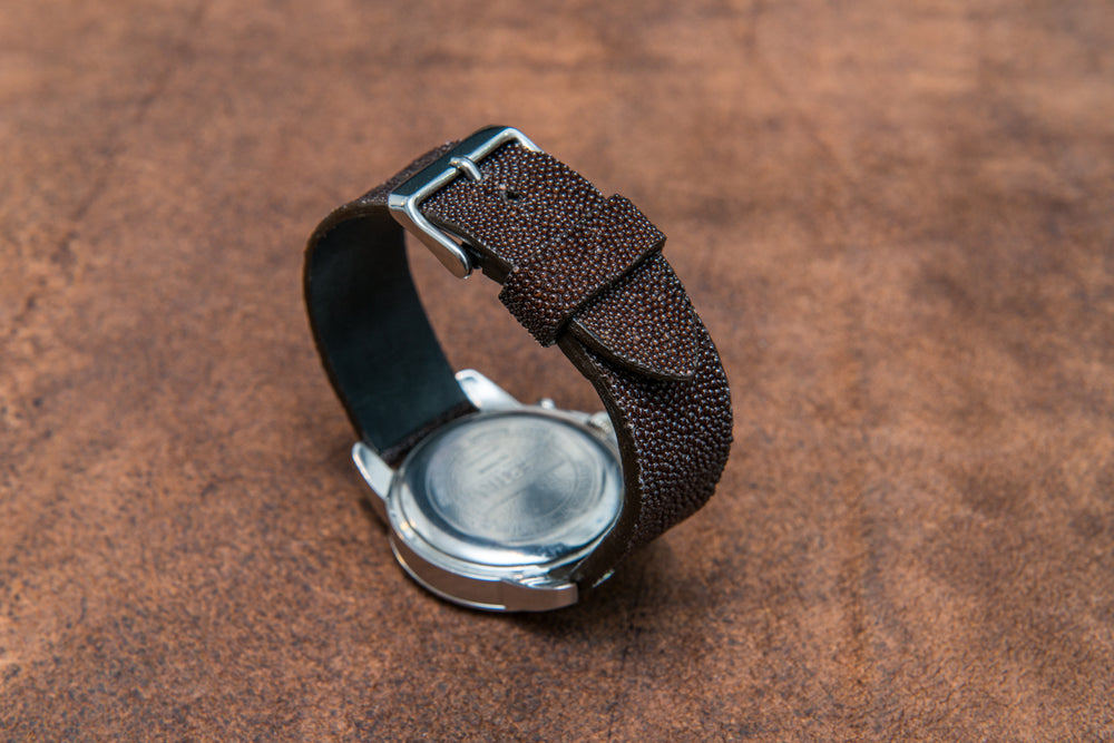 Stingray leather watch strap/ dark brown - finwatchstraps