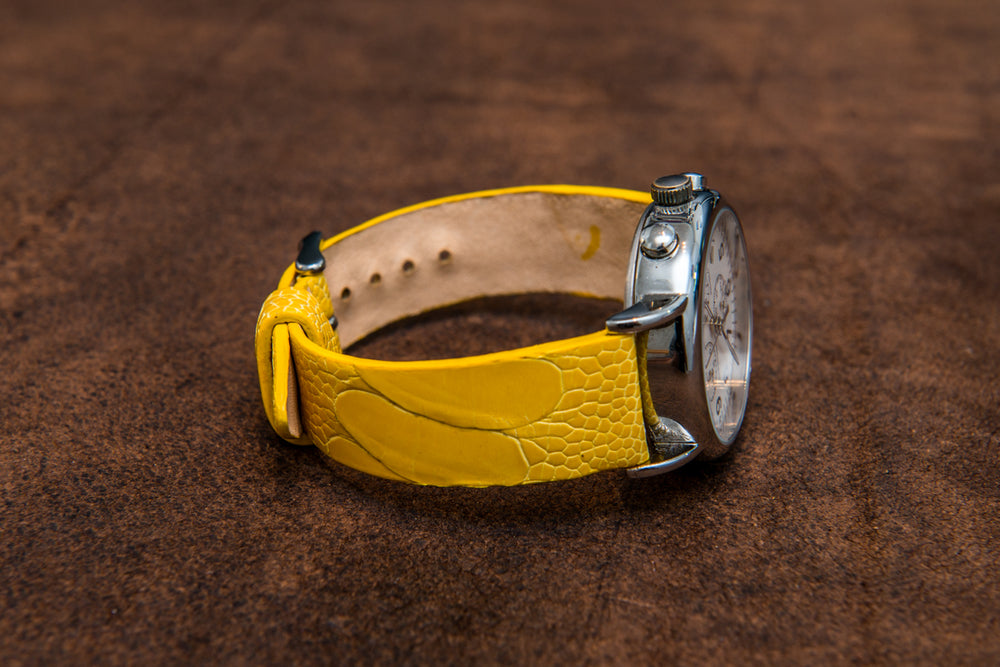 Ostrich legs yellow leather watch strap - finwatchstraps