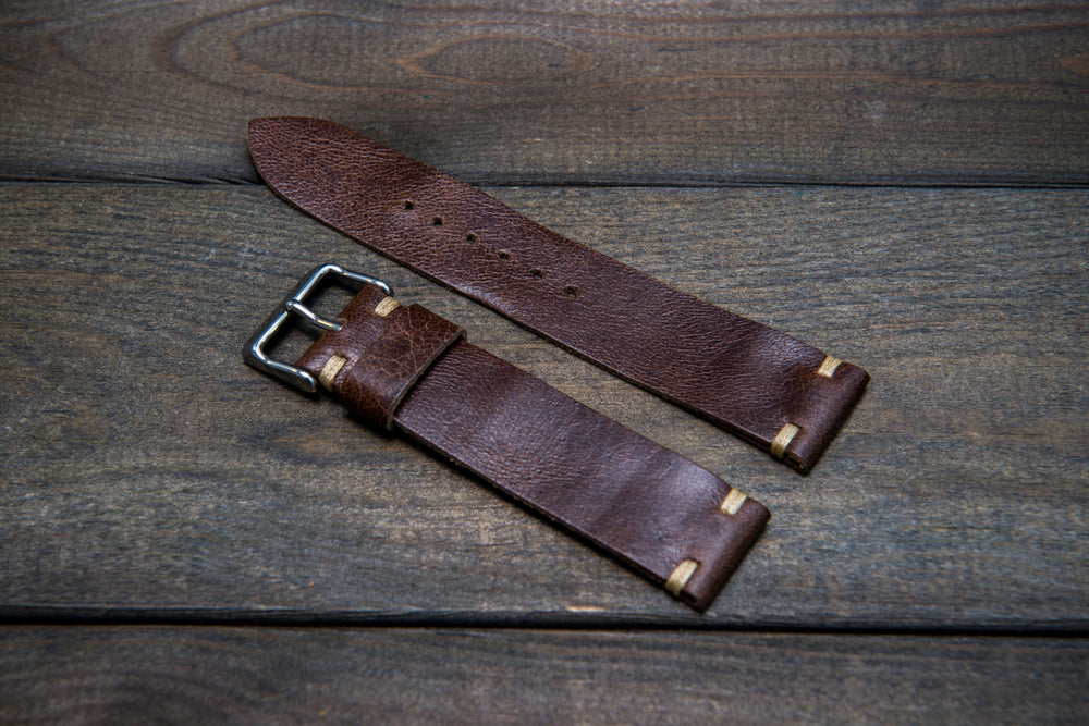 Camel leather watch strap, Antique Brown, handmade in Finland - 10mm, 12 mm, 14 mm, 16mm, 17 mm, 18mm, 19 mm, 20mm, 21mm, 22mm, 23 mm,  24mm, 25 mm, 26 mm. - finwatchstraps