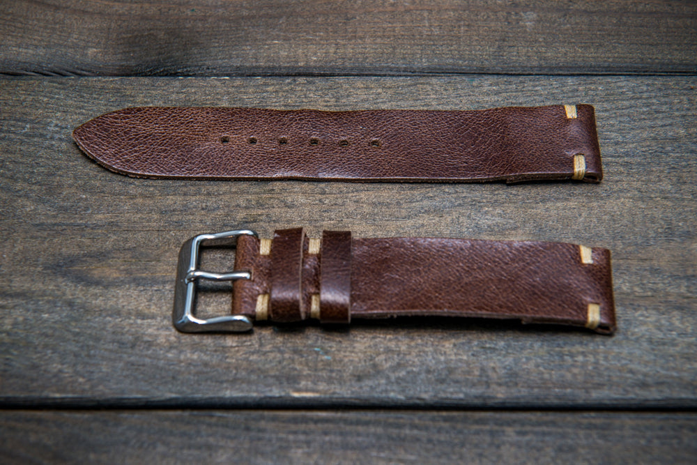 Camel leather watch strap, Antique Brown, handmade in Finland - 10mm, 12 mm, 14 mm, 16mm, 17 mm, 18mm, 19 mm, 20mm, 21mm, 22mm, 23 mm,  24mm, 25 mm, 26 mm.
