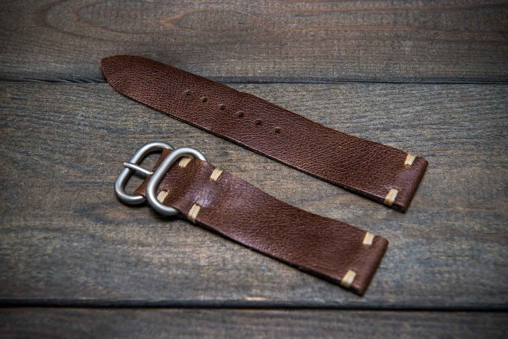 Camel leather watch strap, Antique Brown, handmade in Finland - 16mm, 17 mm, 18mm, 19 mm, 20mm, 21mm, 22mm, 23 mm,  24mm.