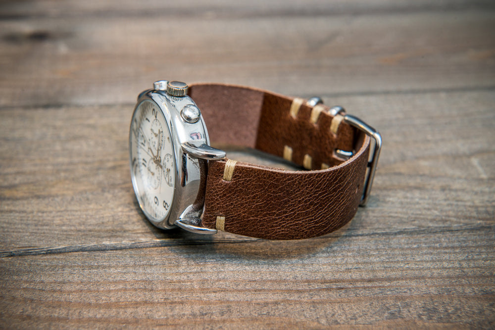 Camel leather watch strap, Antique Brown, handmade in Finland - 16mm, 17 mm, 18mm, 19 mm, 20mm, 21mm, 22mm, 23 mm,  24mm. - finwatchstraps