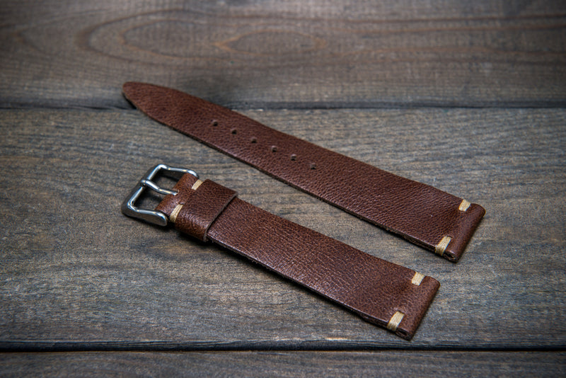 Camel leather watch strap, Antique Brown, handmade in Finland. Tapered model.