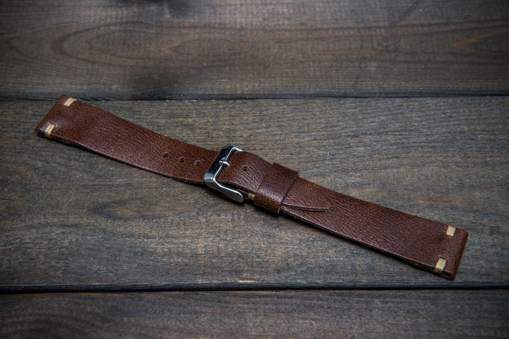 Camel leather watch strap, Antique Brown, handmade in Finland. Tapered model. - finwatchstraps
