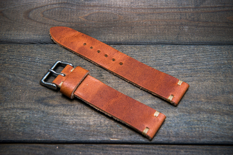 Dublin Cognac leather watch band, handmade in Finland - 10mm, 12 mm, 14 mm, 16mm, 17 mm, 18mm, 19 mm,  20mm, 21 mm, 22mm, 23 mm, 24mm, 25 mm, 26mm. - finwatchstraps
