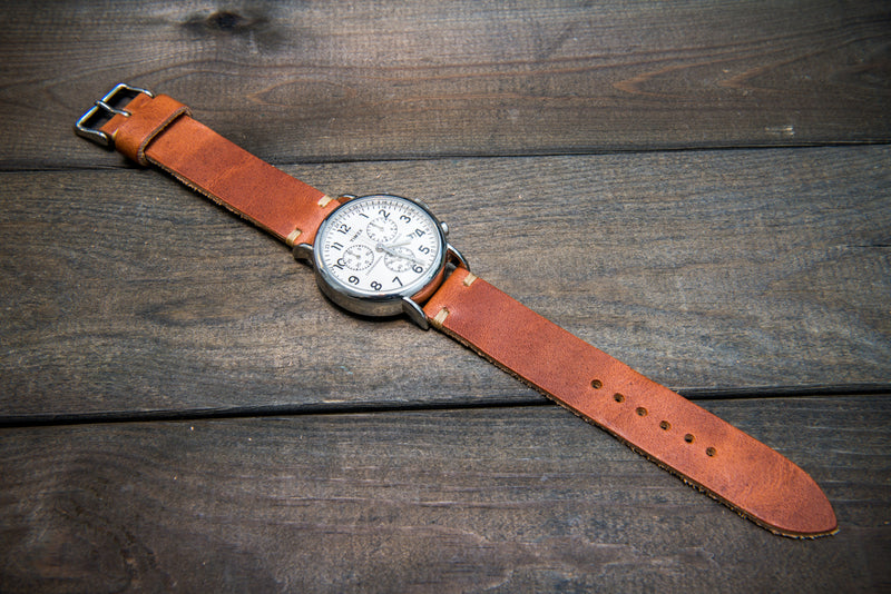 Horween Dublin Cognac leather watch band, handmade in Finland - finwatchstraps