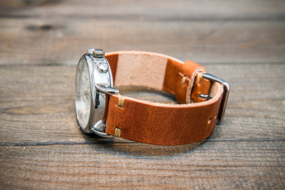 Horween Dublin Cognac leather watch band, handmade in Finland