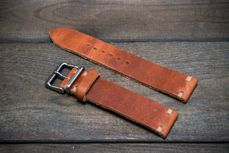 Dublin leather watch band, Cognac color, handmade in Finland - finwatchstraps