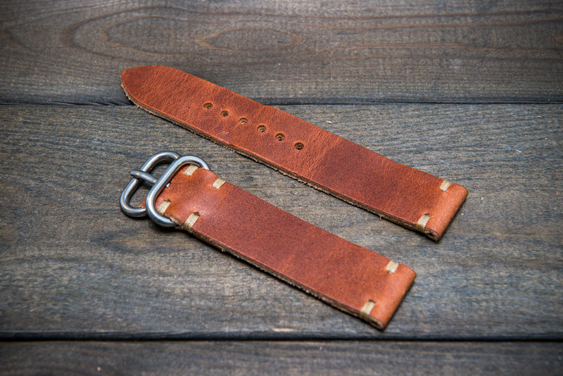 Cognac leather watch strap, handmade in Finland - 16mm, 17 mm, 18mm, 19mm, 20mm, 21 mm, 22mm, 23 mm, 24mm. - finwatchstraps