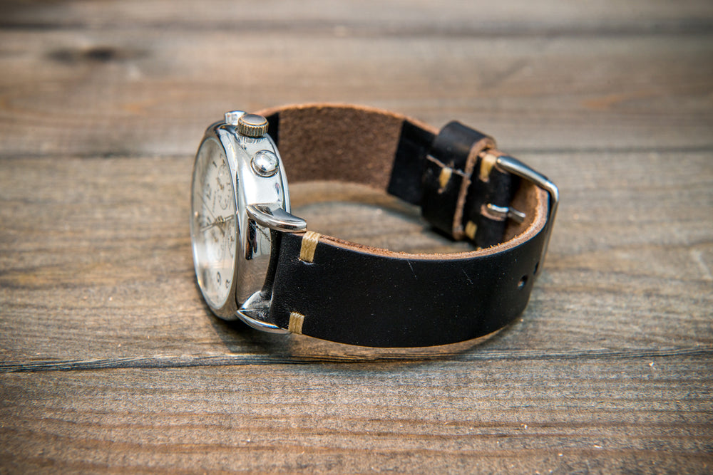 Black Horween Chromexcel leather watch strap, handmade in Finland -10 mm, 12 mm, 14 mm, 16mm, 17 mm, 18mm, 19 mm, 20mm, 21mm, 22mm, 23 mm,  24mm, 25 mm, 26 mm. - finwatchstraps