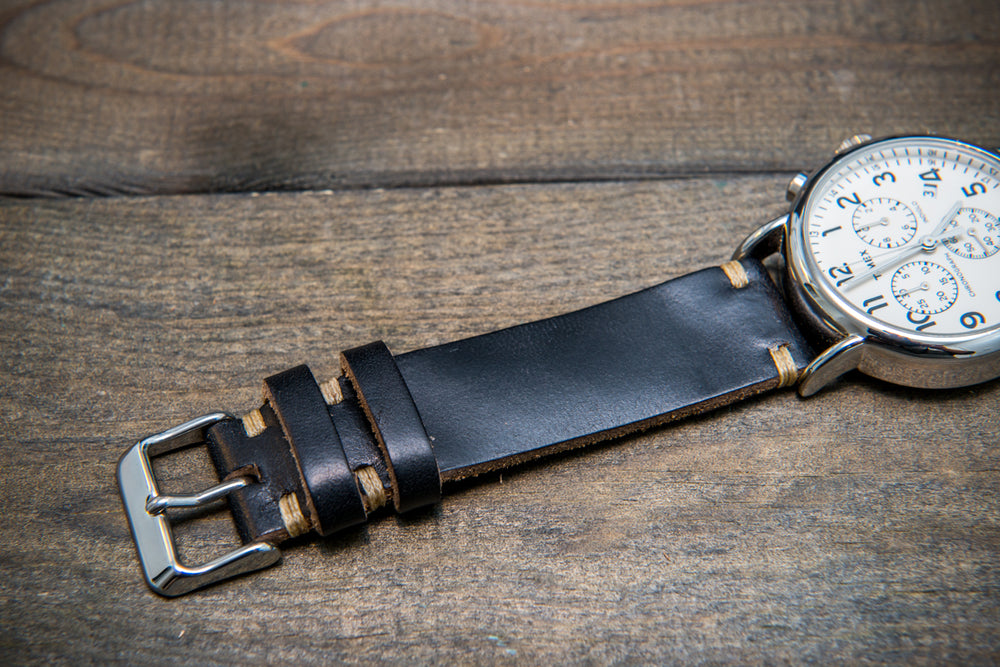 Black Horween Chxl leather watch strap, handmade in Finland -10 mm, 12 mm, 14 mm, 16mm, 17 mm, 18mm, 19 mm, 20mm, 21 mm, 22mm, 23 mm, 24mm, 25 mm, 26mm.