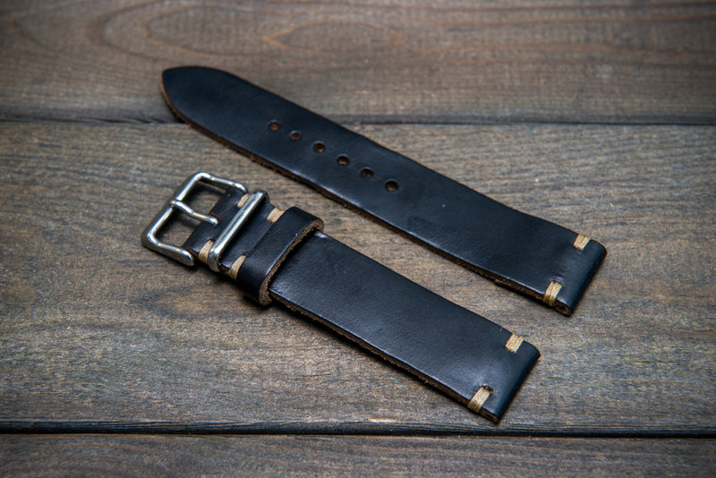 Black Horween Chromexcel leather watch strap, handmade in Finland - 10 mm, 12 mm, 14 mm, 6mm, 17 mm, 18mm, 19 mm, 20mm, 21 mm, 22mm, 23 mm, 24mm.