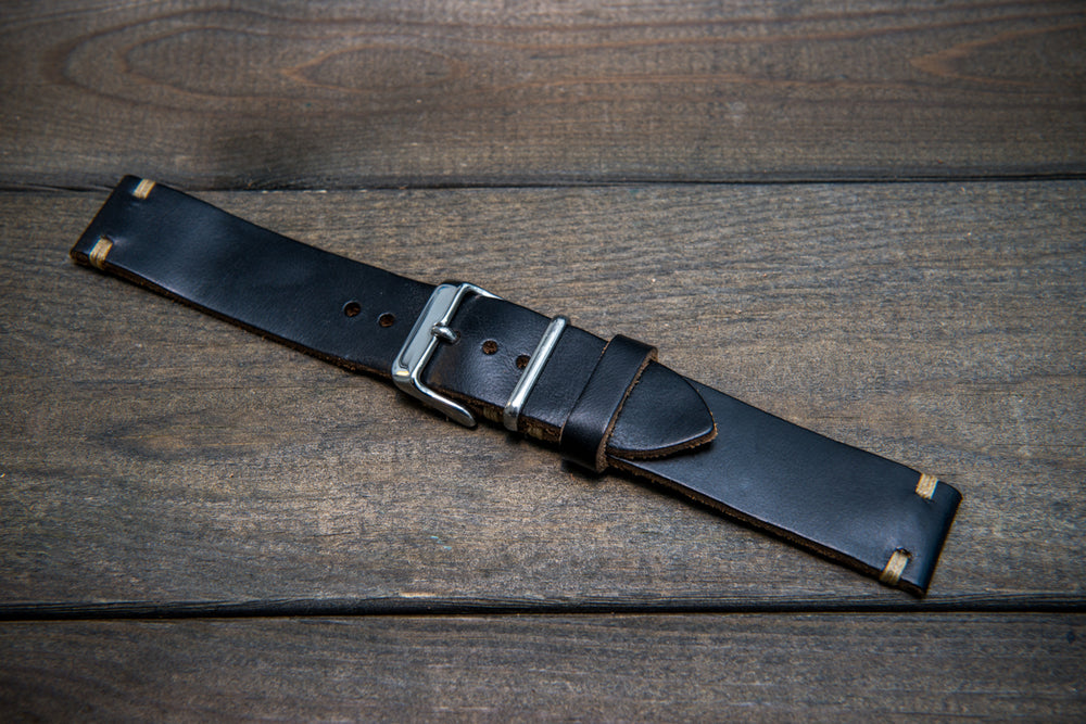 Black Horween Chromexcel leather watch strap, handmade in Finland - 10 mm, 12 mm, 14 mm, 6mm, 17 mm, 18mm, 19 mm, 20mm, 21 mm, 22mm, 23 mm, 24mm. - finwatchstraps