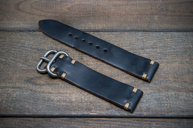 Black leather watch strap, handmade in Finland - 16mm, 17 mm, 18mm, 19mm, 20mm, 21 mm, 22mm, 23 mm, 24mm. - finwatchstraps