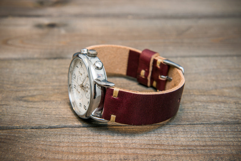 Burgundy Horween Chromexcel leather watch band, handmade in Finland. - finwatchstraps
