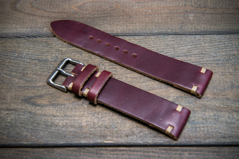 Burgundy Horween Chxl no.8 leather watch strap, handmade in Finland - 16mm, 17 mm, 18mm, 19 mm, 20mm, 21 mm, 22mm, 23 mm, 24mm, 25 mm, 26mm. - finwatchstraps