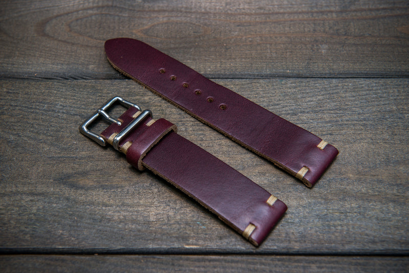 Burgundy Chromexcel Horween leather watch strap, handmade in Finland.