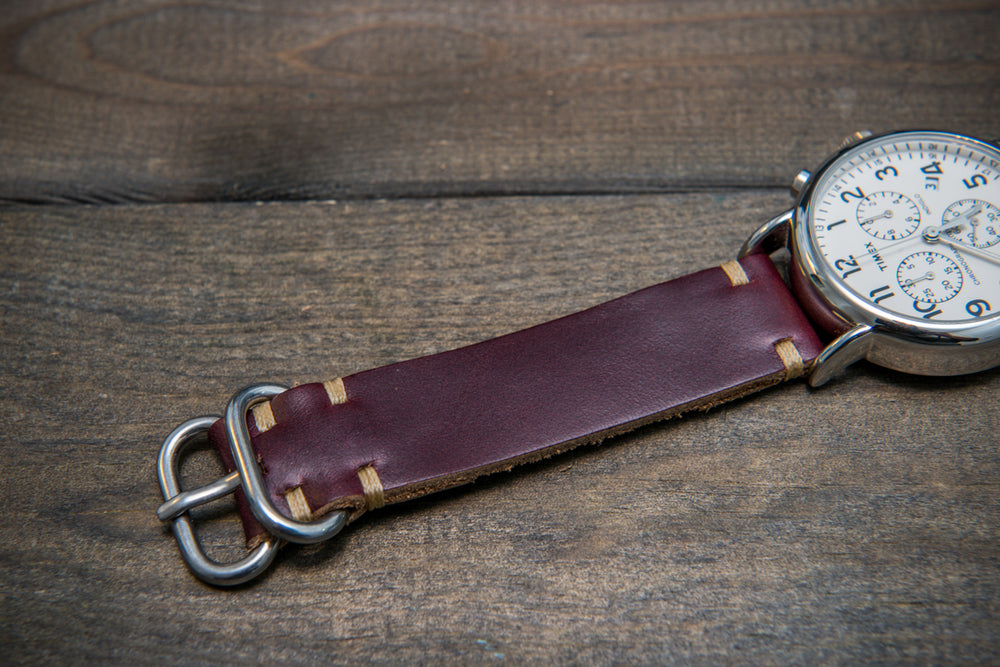 Burgundy Horween Chromexcel leather watch strap, handmade in Finland. - finwatchstraps
